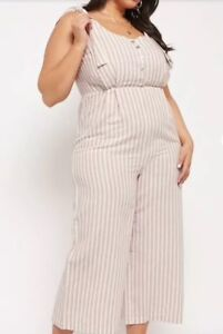 9ec26be619c Forever 21 + Plus Linen Striped Cropped One Piece Jumpsuit Playsuit ...
