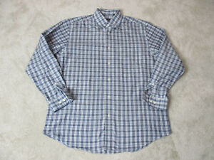 Orvis-Button-Up-Shirt-Adult-Large-Gray-Blue-Plaid-Long-Sleeve-Fisherman-Mens