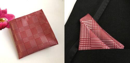 Tie Pocket Square Cufflinks Red White Set Individual 100/% Silk Wedding