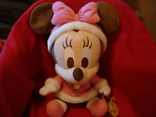 """Disney 15"""" Holiday Baby Minnie Mouse with Pink Hat and Bow Plush"""