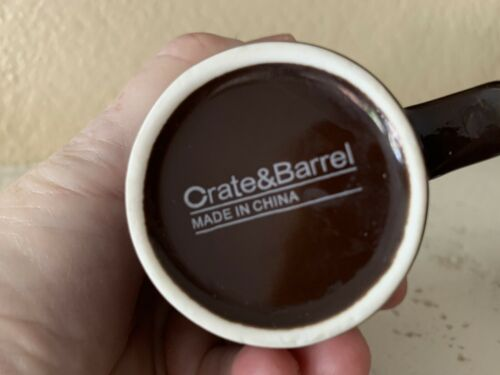 2 Crate and Barrel Chocolate Brown White Small Cups Espresso Coffee