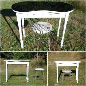 Image Is Loading Vintage Kidney Shaped Desk Dressing Table Vanity Black