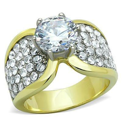 8mm Round CZ Ring 14K Gold IP 14mm 4.25ct Stainless Steel Womens Size 5-10