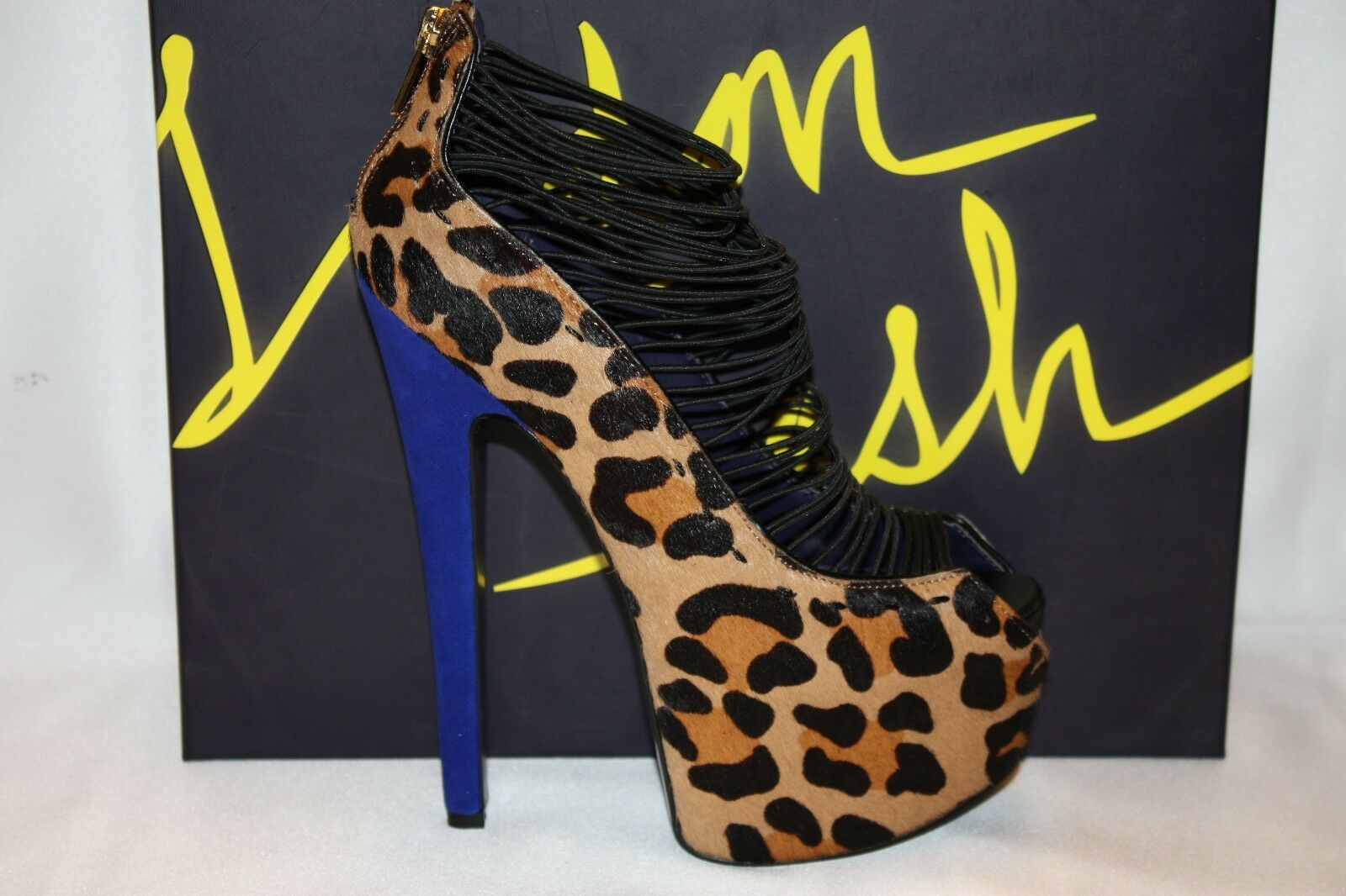 NEW  NIB  LONDON CRUSH TRASH Leopard Calf Hair CRUSH LONDON Peep Toe Platform Stiletto Sz 6.5 3dfc7e