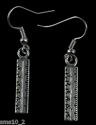 Hand Made  Silver Colour Ruler Earrings HCE244