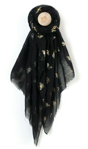 Bee Scarf Lightweight Gold//Silver Metallic Foil Print Busy Bumble Bee Scarf