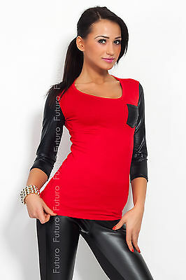 Trendy Women's Top With Pocket Scoop Neck 3/4 Sleeve T-Shirt Sizes 8-18 8084