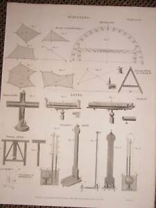 1819 Géorgien Arpentage Imprimé Niveaux Desagulier Mise à Niveau Huygen Etc