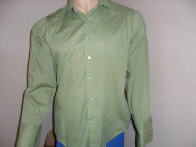 AnpassungsfäHig Vtg Herren Umschlagmanschette Shirt Grün Permpress Gelbgolden Vee L