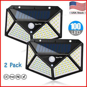 2-Pack-Solar-Lights-Outdoor-100-LED-Motion-Sensor-Wall-Yard-Garden-Pathway-Patio