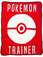 Pokemon Trainer Go Red And White Super Plush Throw Blanket 48x60