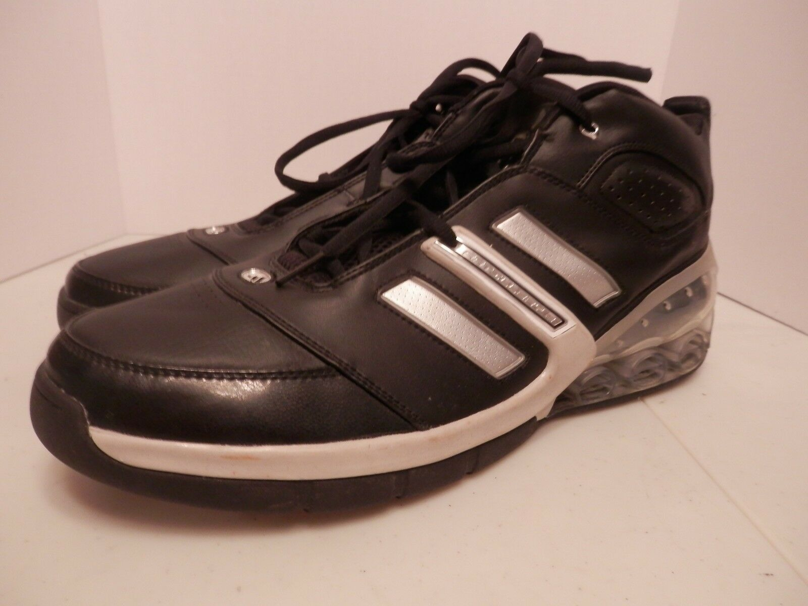 Adidas Artillary 2 Bounce Black Leather Sneakers-Men's Size 18-Great Condition
