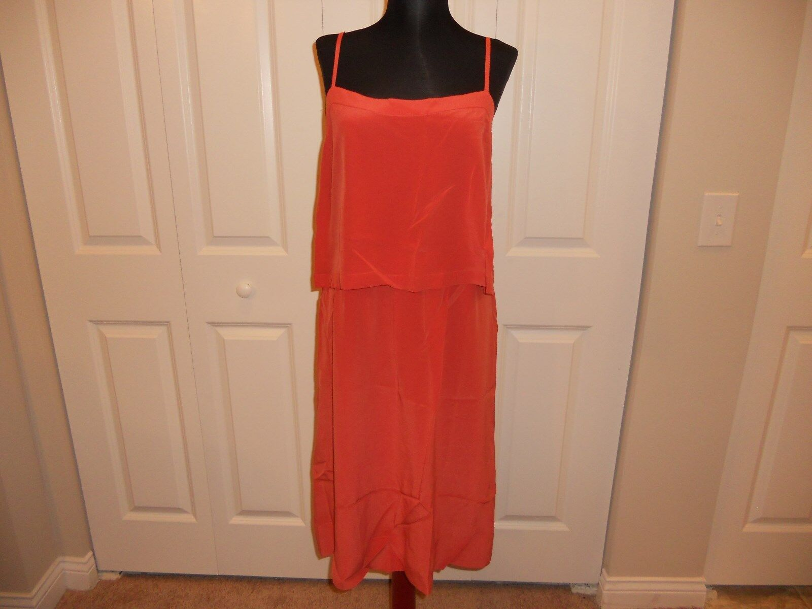 NWT MADEWELL 1937 SILK OVERLAY CAMI DRESS IN BURNT COPPER SIZE 12