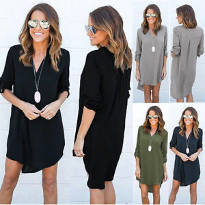 Womens-Casual-Long-Sleeve-V-Neck-Blouse-Loose-Chiffon-Shirt-Solid-Mini-Dress-5XL