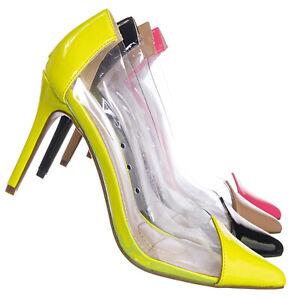Women Neon Transparent Dress Heels