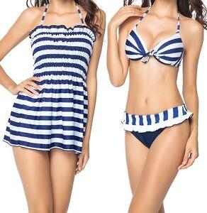 Women-039-s-Push-up-Padded-Swim-Dress-Swimsuit-Bikini-Set-Bathing-Swimwear-Striped