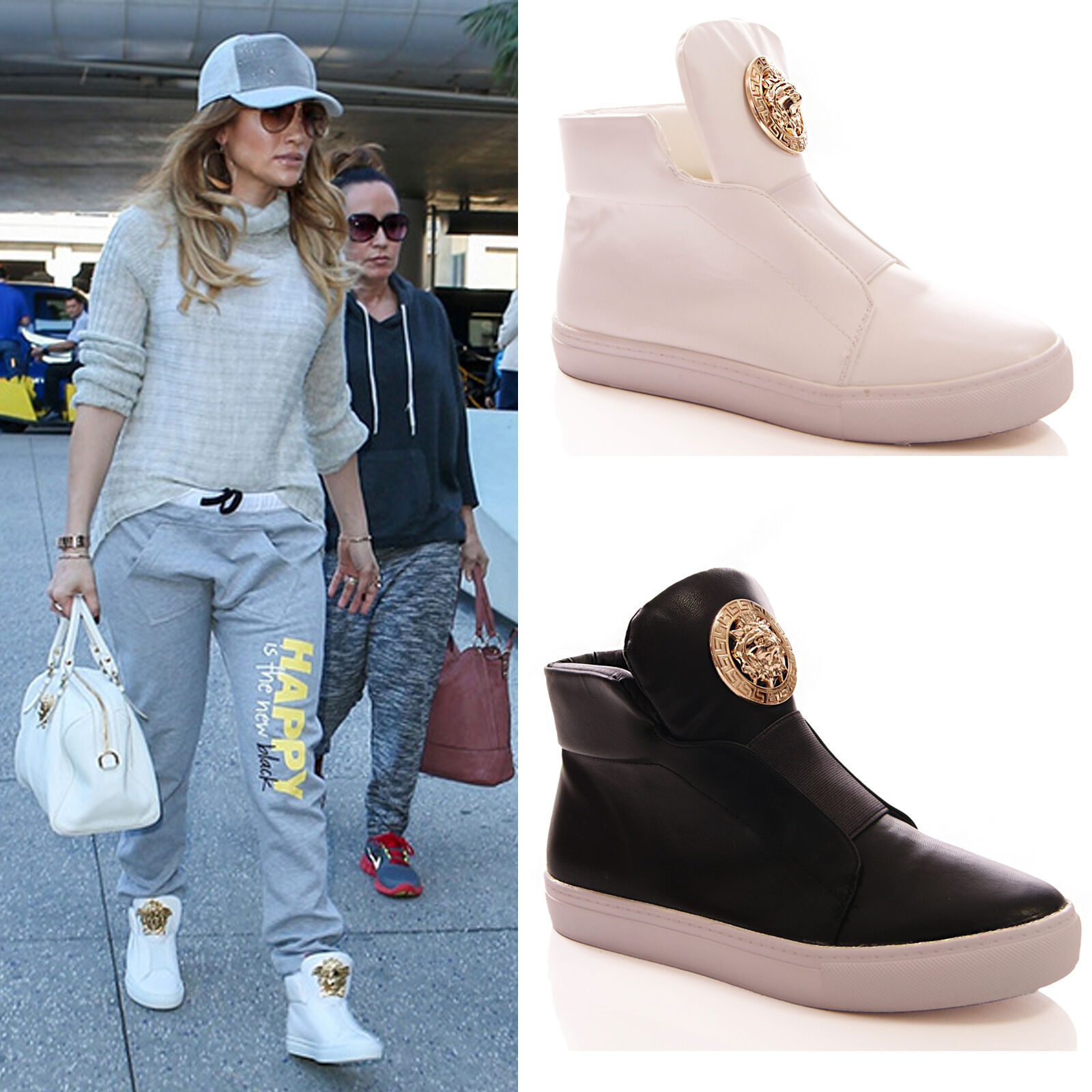 LADIES FASHION Mujer HI TOP TRAINERS FASHION LADIES FLAT SNEAKERS CASUAL Zapatos Talla ad5d6b