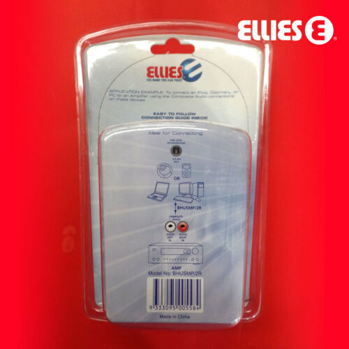 ELLIES 3.5MM TO 2 RCA AUDIO INTERCONNECT 1.5 METRE TV VIDEO ENTERTAINMENT