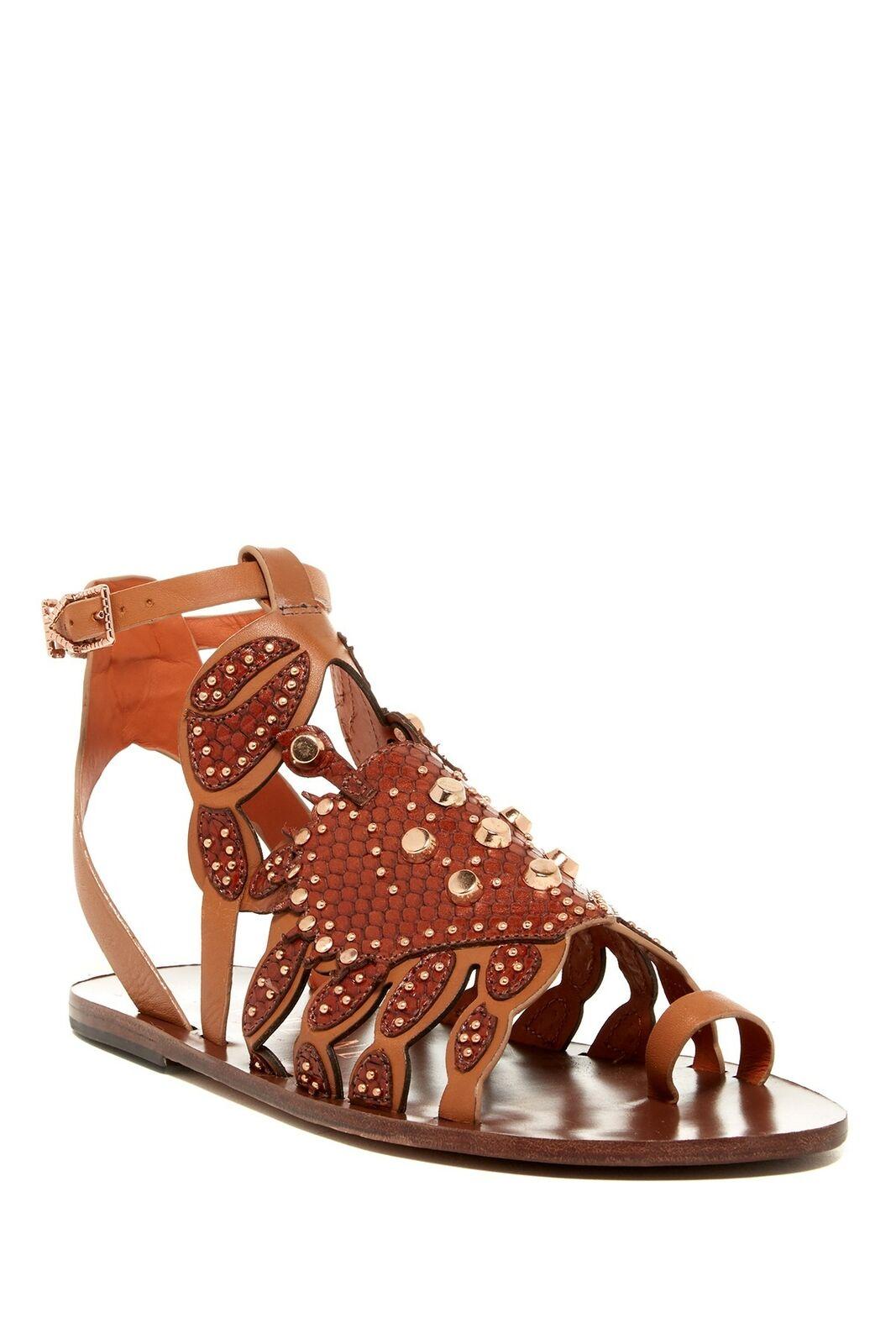 Ivy Kirzhner Scrabby Cognac Leather Rich oro Studded Gladiator Flat Sandals