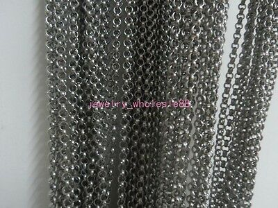 Lot 5 Meters In Bulk Jewelry Finding Round Rolo Link Chain Stainless steel Shiny