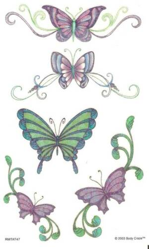 Sandylion Vintage Temporary Wet Tattoos Glittery Butterflies 5 Sheets RETIRED
