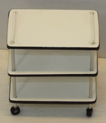 Doll miniature handcrafted Medical cart NEW white and black 1//12th scale 1920s