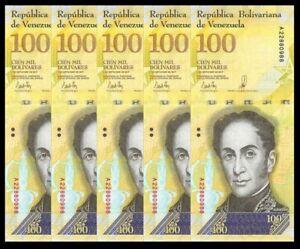 VENEZUELA-BOLIVARES-5-X-100000-100-000-P-NEW-UNC-LOT-5-PCS-Total