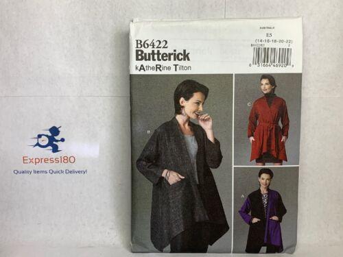 Butterick B6422 Misses/' Asymmetical-Hem Jackets with Welt Pockets 14-22 UNC JI