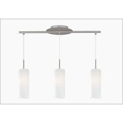Sospensione su binario 3 Luci vetro cilindro bianco struttura acciaio satinato