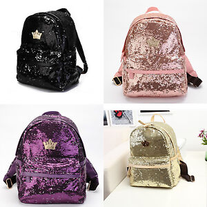 Image Is Loading Women Backpack Sequins Glitter Bag Shiny