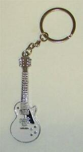 Exquisite-White-GUITAR-Metal-Alloy-KEY-CHAIN-Ring-Keychain-NEW