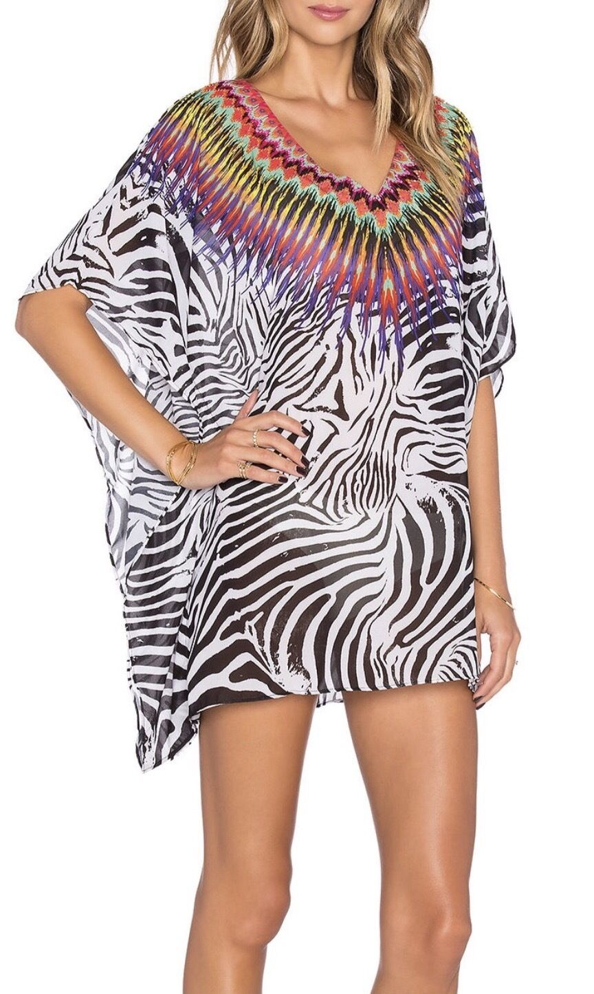 154 NWT PILYQ EMBROIDERED BEADED ZEBRA PRINT COVER UP TUNIC