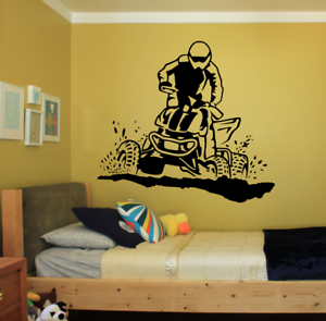 """ATV SLINGING MUD LARGE REMOVABLE WALL VINYL DECAL STICKER 22x24/"""" COLOR CHOICES"""