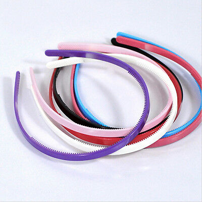 Candy Color Plastic Hairbands Simple Hair Accessory Teeth Headbands 8mm Wide