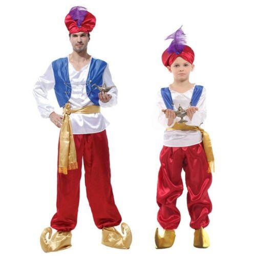 Halloween Costumes Adult Men Aladdin Costume Arab Prince Cosplay Child Kids Boys