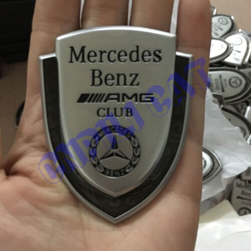 3D Silver AMG Club Logo Car Rear Emblem Sticker for Mercedes-Benz A C E S G Etc.