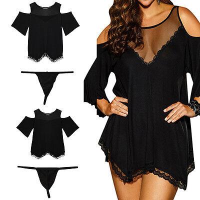 Sexy Women Lingerie Dress Underwear Nightwear Sleepwear Babydoll G-String DW