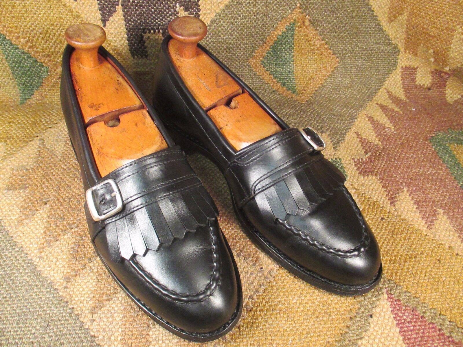 Allen Edmonds Cahill Black Leather Full Strap Buckle Kiltie Dress Loafers 9.5B