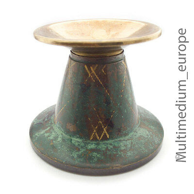 Art Deco Kerzenständer WMF Ikora Metall grün Messing Candlestick holder