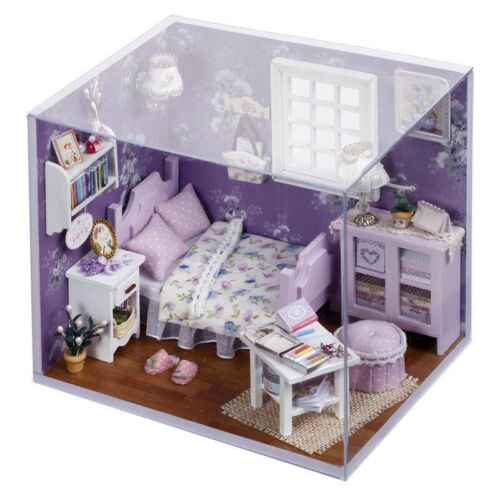 New Dollhouse Miniature DIY Kit with Cover Wood Toy doll house room Happ SEP