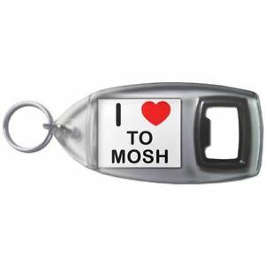 I Love Heart To Mosh - Plastic Bottle Opener Key Ring New
