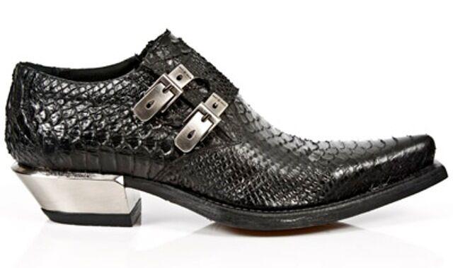 Newrock New Rock 7934-s2 PYTHON Neri in Pelle Fibbia boot Ovest acciaio tacco shoes boot Fibbia cc633c