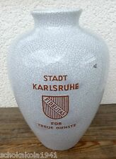 Karlsruher Majolika --Für Treue Dienste Stadt Karlsruhe-- große Vase