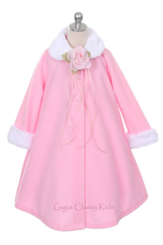 New Girls White Fleece Coat Wedding Winter Christmas Baby Toddler Kids Youth