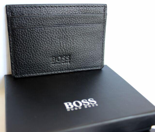 d68e35a56fd Hugo Boss slim Mens Leather Credit Card Holder s Black New Men Gift Case  BNWT