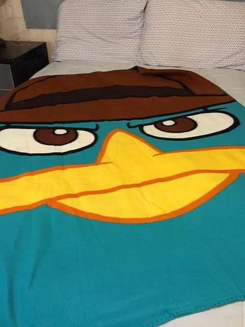 Phineas and Ferb Perry Platypus Agent P Big Head fleece blanket  throw NEW