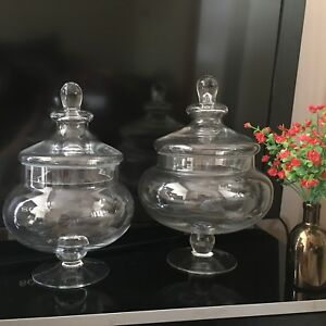 Decorative Glass Footed Bon Bon Jar 25cm  Brand new