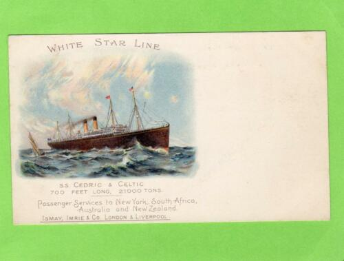SS Cedric & Celtic White Star Line Ismay Imrie & Co unused early old pc
