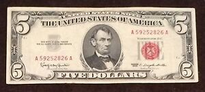 1963-Five-Dollar-Bill-Red-Seal-Note-Randomly-Hand-Picked-VG-Fine-FREE-SHIPPING