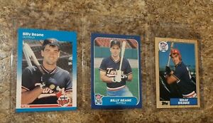 3-Billy-Beane-Rookie-Card-lot-1986-1987-Fleer-Glossy-Topps-Moneyball-RC-Update